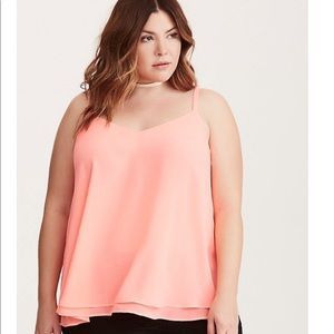 NWT coral double layer chiffon cami torrid size 2